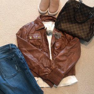 Bebe leatherette bomber jacket